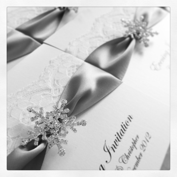 Snowflake wedding invitations, with beautiful twinkly crystal snowflake. Perfect for a winter wonderland themed wedding    #wedding #weddings #invitation #invitations #weddinginvites #weddinginvitations #weddingstationery #designer #luxury #personalised #printed #snowflake #winter #winterwedding #crystal #frosty #frosted #winterwonderland