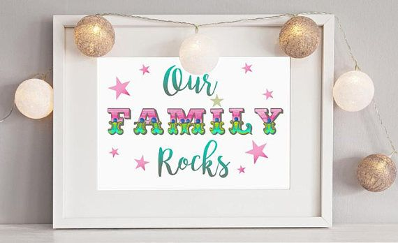 Our Family Rocks Gold Embossed Print