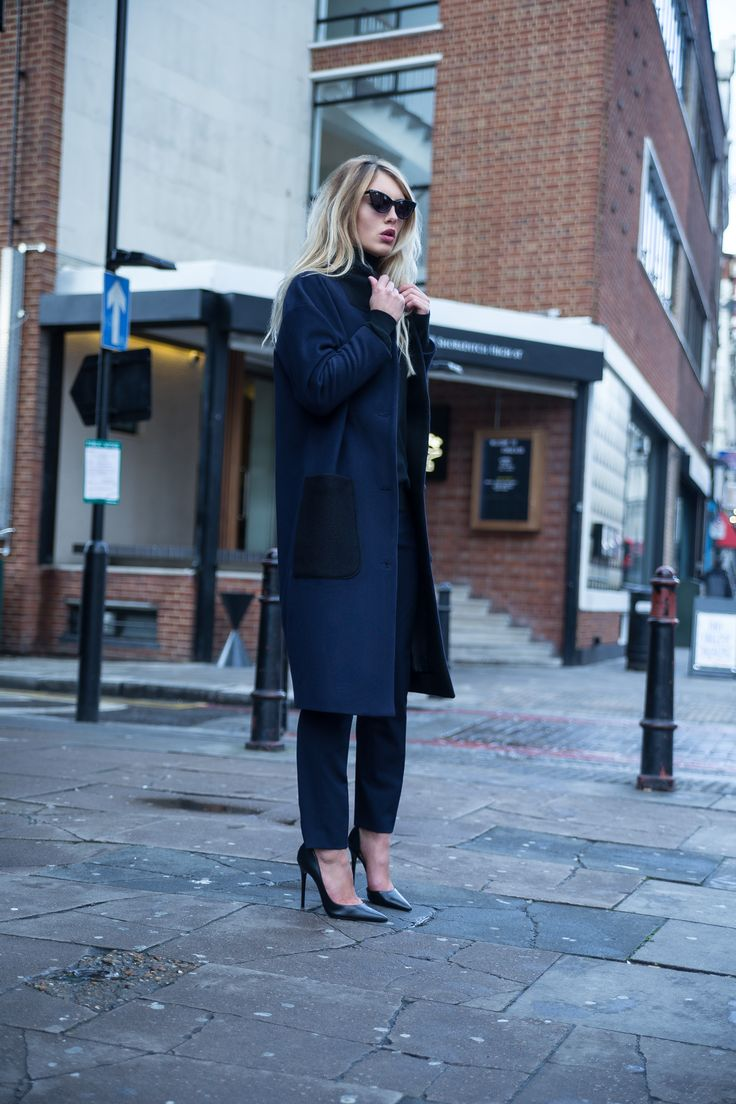 Charlotte Zimbehl's long and oversized wool blend coat 'The Marianne in a beautiful navy with black detailing. Made in London.