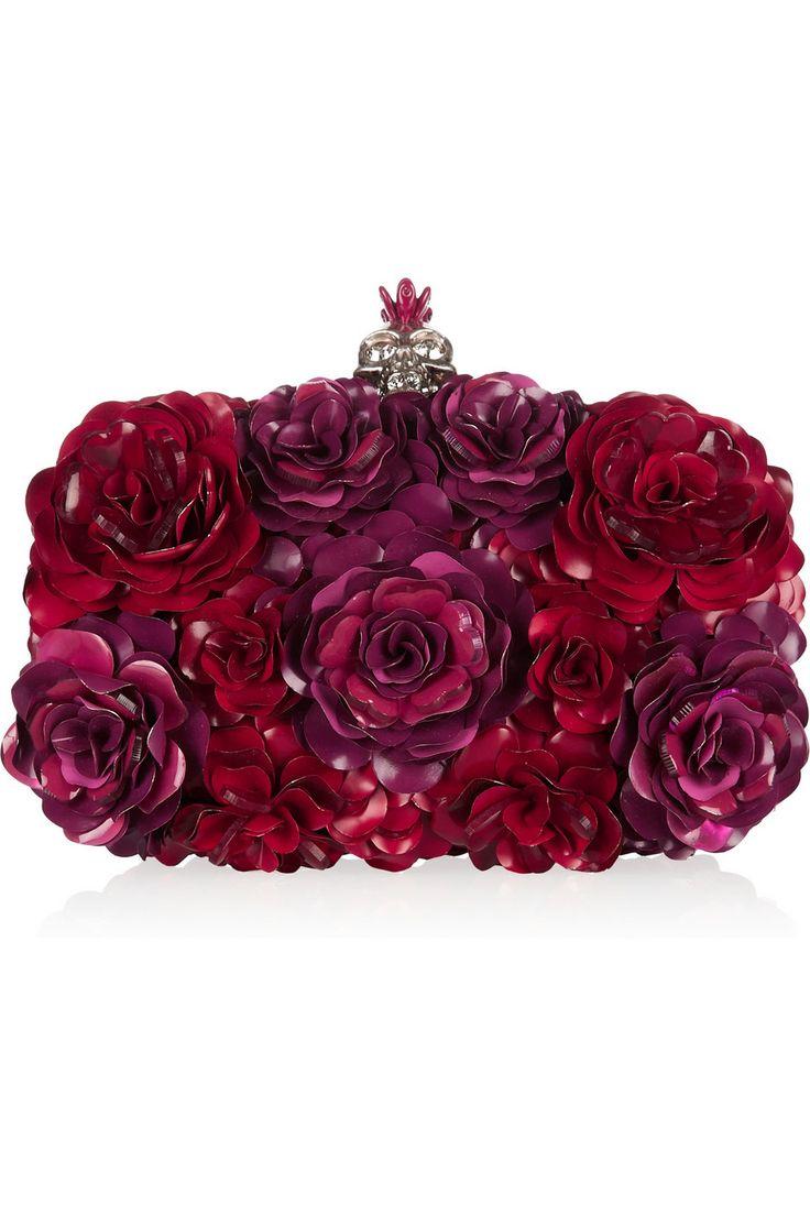 Alexander McQueen|Enameled flower box clutch|NET-A-PORTER.COM