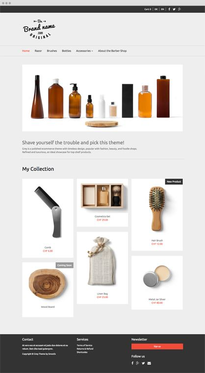 Smoolis Theme - GREY - Grey is a polished e-commerce theme with timeless design, popular with fashion, beauty, and foodie shops. Refined and luxurious, an ideal showcase for top shelf products.