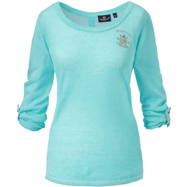 L'ARGENTINA Pullover ($130) ❤ liked on Polyvore featuring tops, sweaters, sweater pullover, blue pullover, logo top, blue sweater and pullover tops