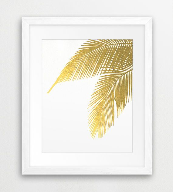 Palm Leaves Printable File, Palm Leaf Gold Foil Texture - Modern Wall Art, Tropical Art, Home Office Decor, Digital Print Instant Download