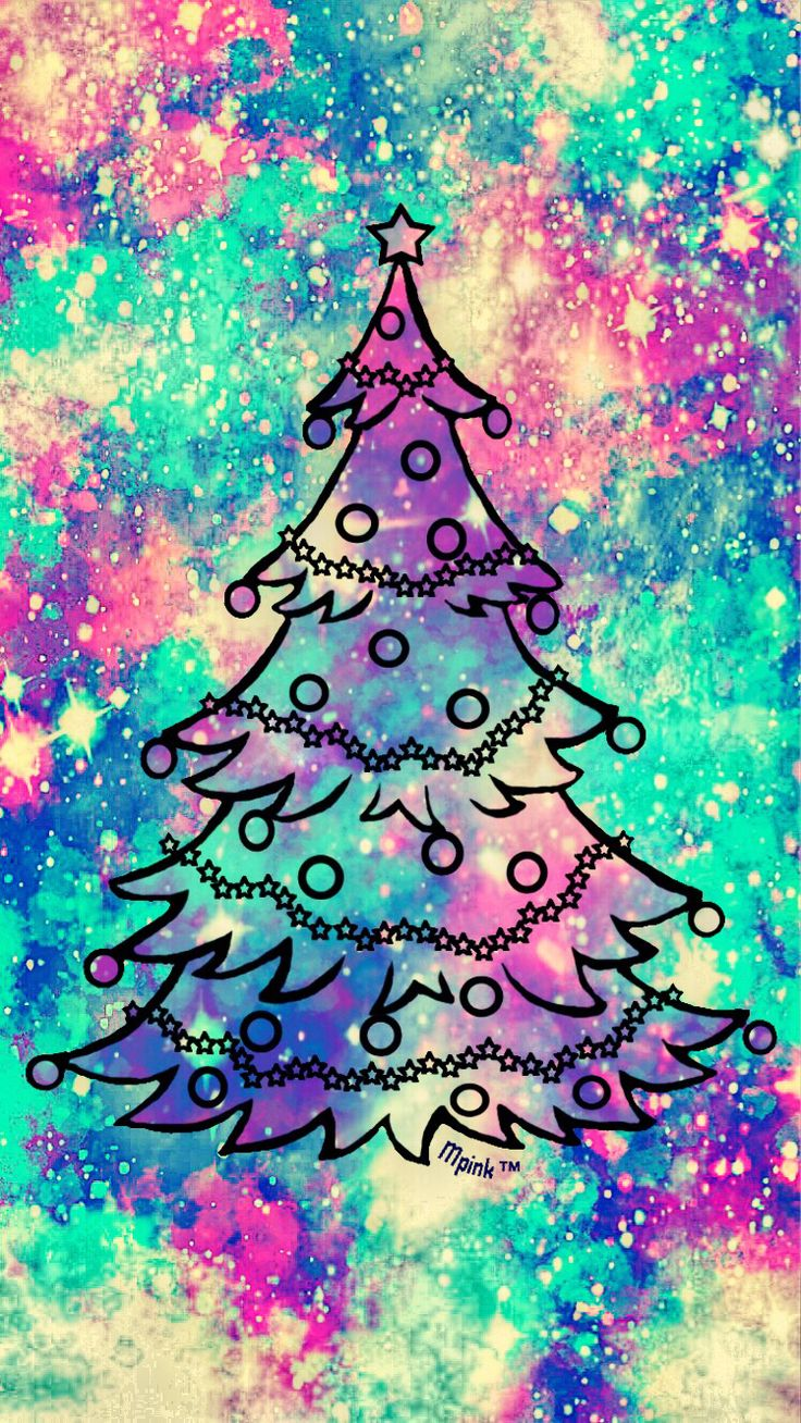 Vintage Christmas Tree Galaxy Wallpaper Androidwallpaper Iphonewallpaper Pattern Holidays