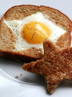 The Star of Breakfast:  Using cookie cutter, cut star shape out of center of bread. Toast the cut out star. Place bread slice into a well buttered skillet on medium heat. Once one side is golden, flip over toast and crack egg into center of star. Cover and cook until egg white is firm. Sprinkle with salt and pepper and serve with toasted star.