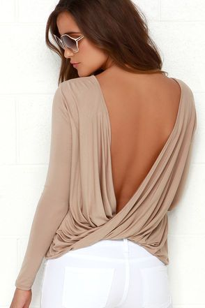 Chic Light Brown Top - Long Sleeve Top - Open Back Top - $29.00