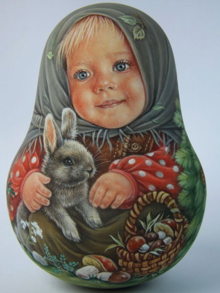 My Author's 1 Kind Russian Roly Poly Nesting Matryoshkas Dolls Artist Usachova…