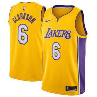 sports shoes 15080 a0aab Men's Los Angeles Lakers Jordan Clarkson Nike Yellow ...