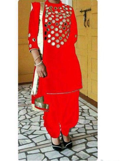 The Punjabi style Mirror Work Designer Patiala Red Colour salwar suit
