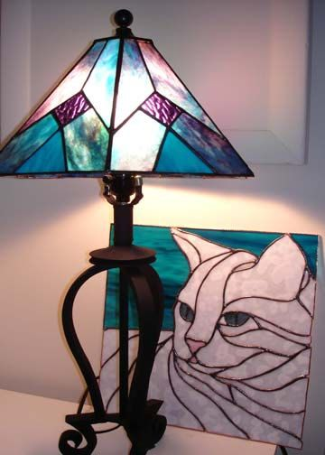 Purple and Blue Lamp Shade by ehamiltonglass on Etsy