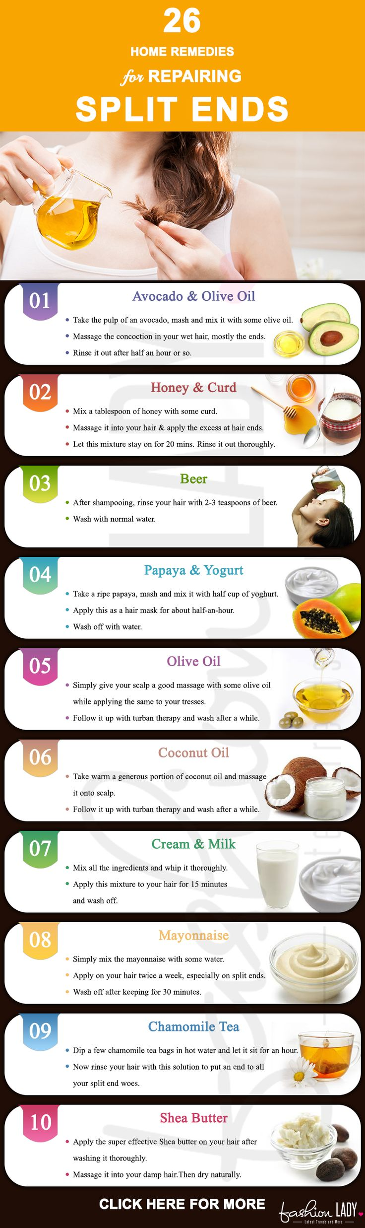 26 Home Remedies For Repairing Split Ends