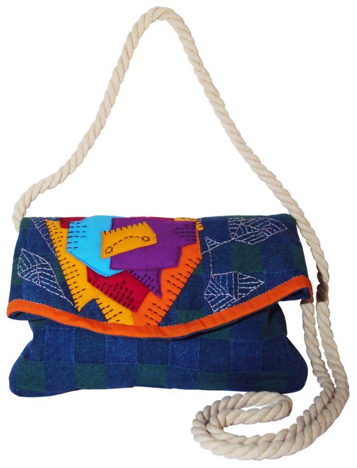Sac bandouli re en jean et laine besace en tissu aux motif tartan patchwork - Tissus fleuris anglais ...