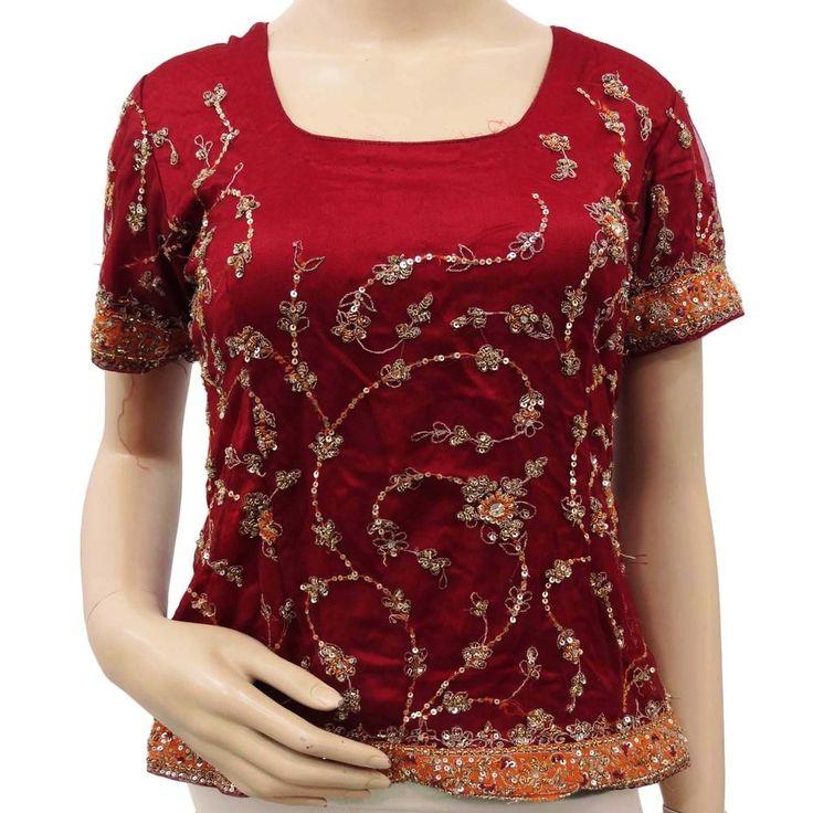 Vintage antike Maroon Tunika Net Hand Beaded Stoff Choli Long Top Indian Bluse