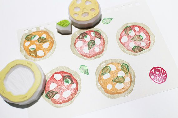 pizza rubber stamp. italian food rubber stamp. by talktothesun