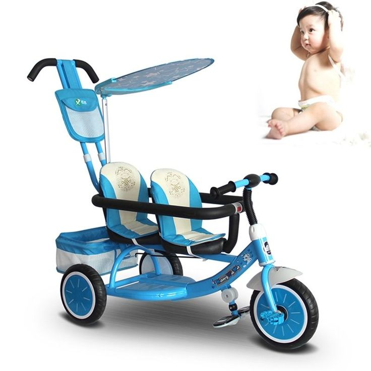 New Baby Twins Stroller Tandem Double Seats Tricycle Trike Ride-On Pram Buggy #Unbranded