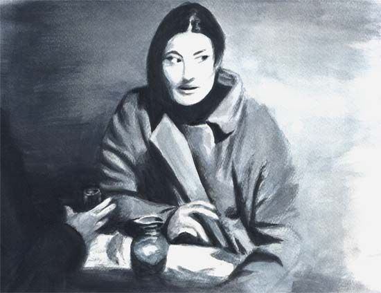 IN BLUE akwarela oryginał 23x30; Helena Mróz