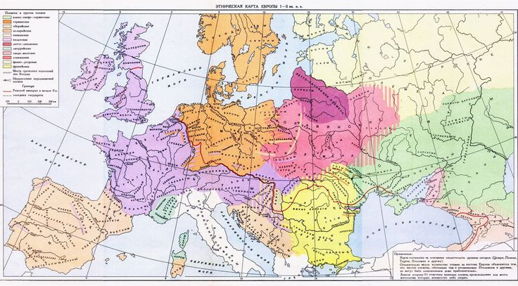 Ethnic map of Europe (1st and 2nd centuries), in russian, from the public library of the Academy of Sciences of Moldova