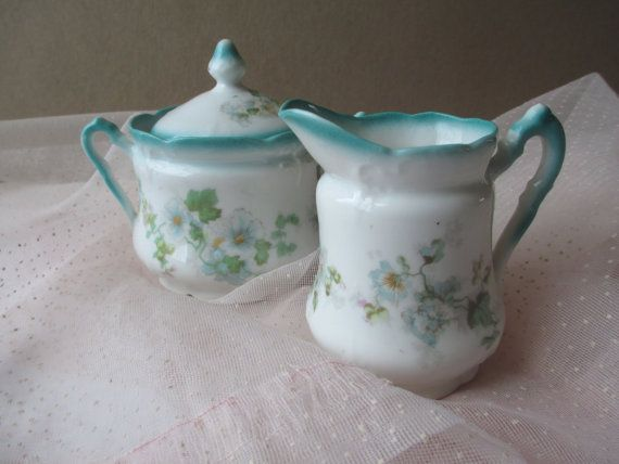 Vintage Turquoise Floral Cream and Sugar Set Charming Tea