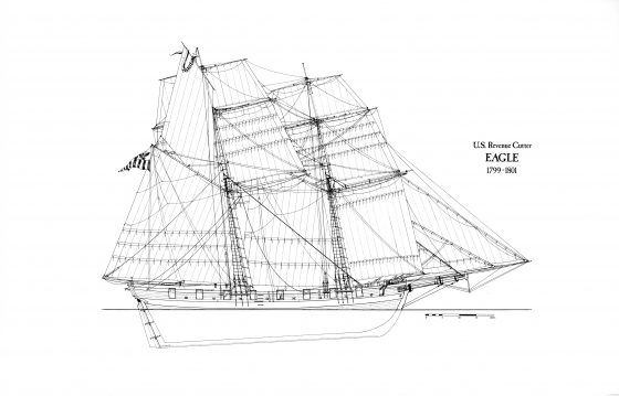 Based on records and documents, this modern profile view shows the cutter Eagle, which fought in the Quasi-War with France. Coast Guard Collection.