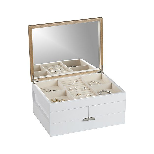 Shop Selma White Jewelry Box.  Contemporary jewelry box unfolds to a treasure chest of roomy storage trays lined in linen.
