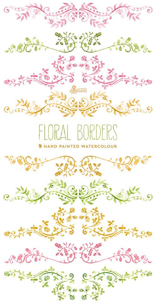 Floral borders, embellishment watercolour. 9 Digital Clipart. Hand painted, wedding elements, flowers, invitation diy, frames, embellishment, ornamental.