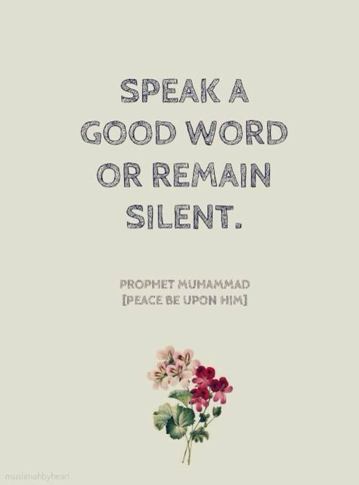 Speak only good words, please?