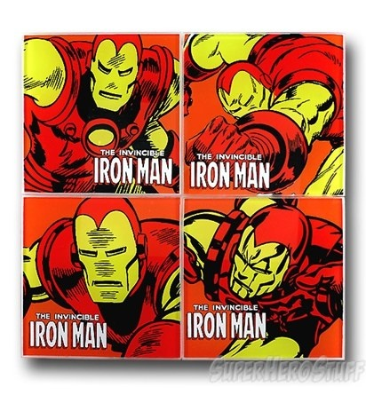 Iron Man Coaster Set $18.99: Coasters Features, Man Coasters, Irons Man, Iron Man, Glasses Coasters, Coasters Sets, Metals Man, Coaster Set
