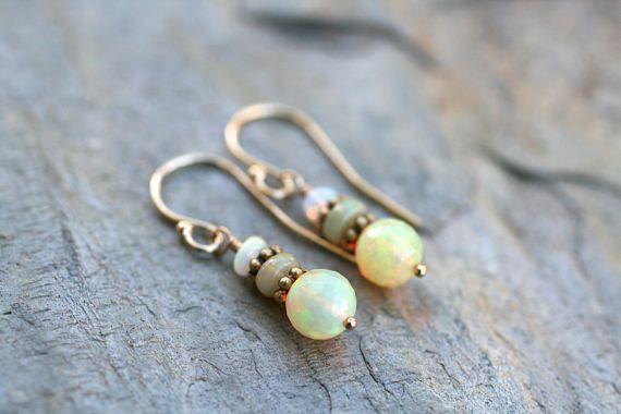 Ethiopian Opal Gemstone Earrings 14KT Gold Filled Earrings