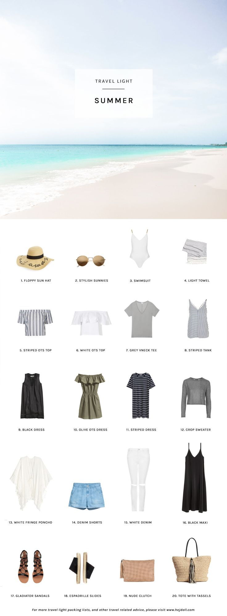 1. Sail Away Floppy Sun Hat / 2. Gold-Colored Sunglasses / 3. Chain Strap Swimsuit / 4. Striped Beach Towel / 5. Striped Off the Shoulder Top / 6. Off the Shoulder Bardot Top / 7. Cuyana Gray V-Neck T