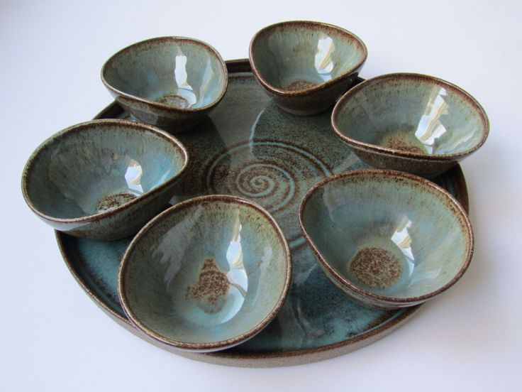 Ceramic bowls with matching serving plate, modern Passover Seder plate, breakfast serving set, gift ideas by NoraPotteryArt on Etsy https://www.etsy.com/listing/233192002/ceramic-bowls-with-matching-serving