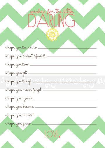 Printable Custom Girl Baby Shower Game - Wishes for Baby Girl -