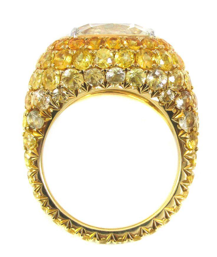 Unique 7.02 carat Cushion Brilliant Cut Diamond Yellow Sapphire Ring