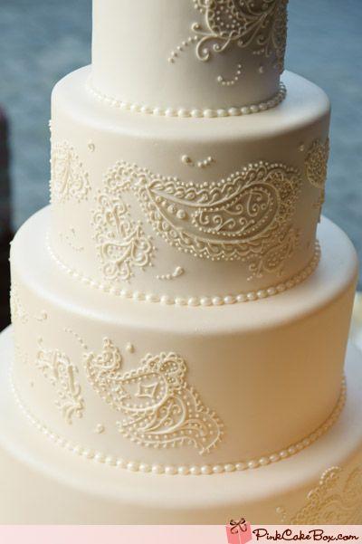 White Paisley Wedding Cake | http://www.pinkcakebox.com/paisley-white-wedding-cake/