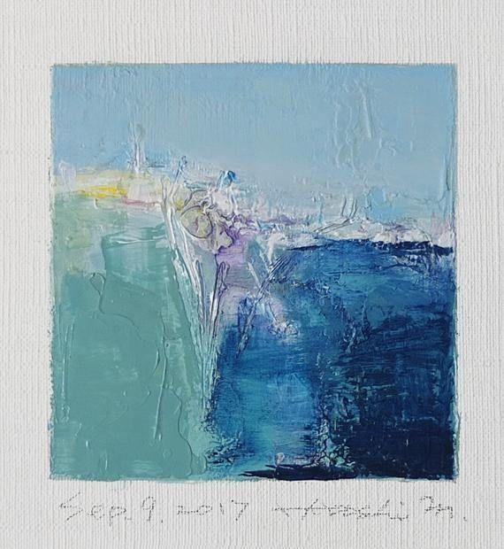 Il s'agit d'une peinture à l'huile abstraite par Hiroshi Matsumoto Titre: Septembre 9, 2017 Taille: 9,0 cm x 9,0 cm (environ 4 x 4) Toile taille: 14,0 cm x 14,0 cm (env. 5,5 x 5,5) Technique: Huile sur toile Année: 2017 C'est ma peinture tous les jours appelé tableau de 9 x 9 et le titre est la date que j'ai créé cette peinture. Peinture est livré avec un tapis. Peinture est feutré en écru pour s'adapter à cadre standard 8 pouces x 10 pouces (non inclus) et livré avec le certificat d...