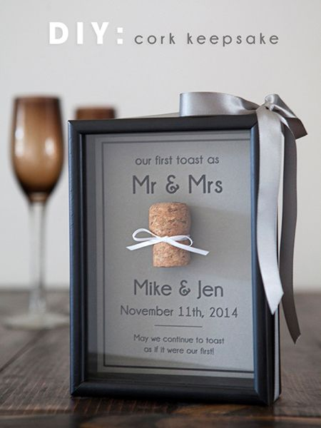 "Save the cork from your first champagne toast as Mr. and Mrs. and tie a little bow around it to put together this keepsake frame from Something Turquoise. You'll also need a shadow box frame, advanced-strength Glue Dot sheets, and cardstock (download the free ""Champagne and Limousines"" font before you get started).Download the free printable here ►"