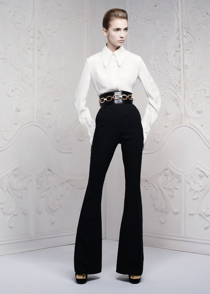 The flare re-emerges as a key womenswear commercial update for the basic black trouser, with Alexander McQueen's Pre-summer 2013 collection.Fashion, Style, Clothing, Black And White, Alexandermcqueen, Resorts 2013, Mcqueen Resorts, 2013 Collection, Alexander Mcqueen 2013