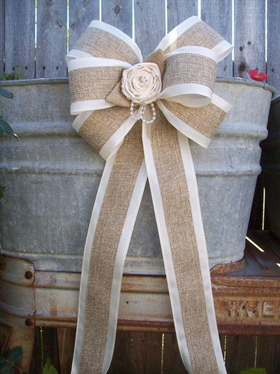 Bows Burlap Pew Bows