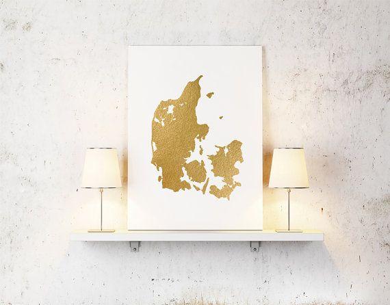 Gold foil Denmark map printable map wall art by alldigitall