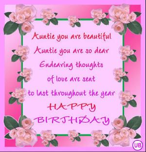 Happy Birthday Aunt Quotes | Happy Birthday Cards for Aunts * Free Aunt Birthday Card * Free Aunt e ...