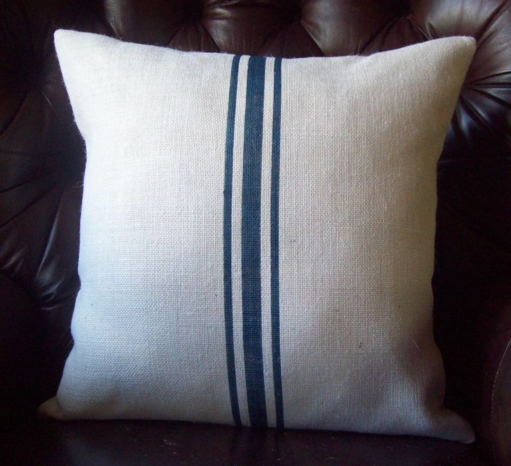 Grain Sack Pillow Cover, Navy Blue Stripes, Striped Pillow, Decorative Pillow, Burlap Pillow, Rustic Pillow, Beach Pillow, Farmhouse Pillow by NorthCountryComforts on Etsy https://www.etsy.com/listing/91812414/grain-sack-pillow-cover-navy-blue