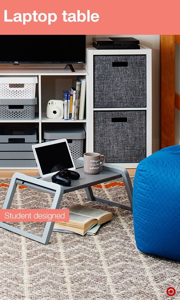 Take those college study sessions to the floor with a laptop table designed by students for students. Lightweight and easy to use, this table can be moved to the floor (or to your friend's dorm room) when you want a change of scenery. The groove at the top of the tray makes a great tablet stand plus the entire tray is wide enough to hold a laptop. When the studying is done, it folds flat for easy storage.