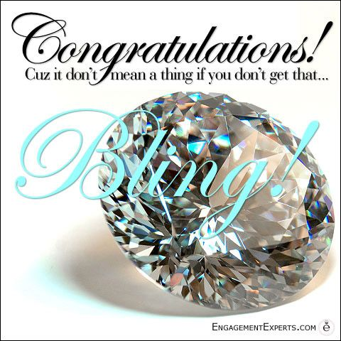 Funny engagement congratulations card about ring bling!