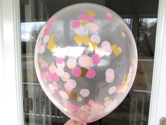 Confetti Balloons Hot Pink Light Pink Peach Gold for Baby girl's first birthday!