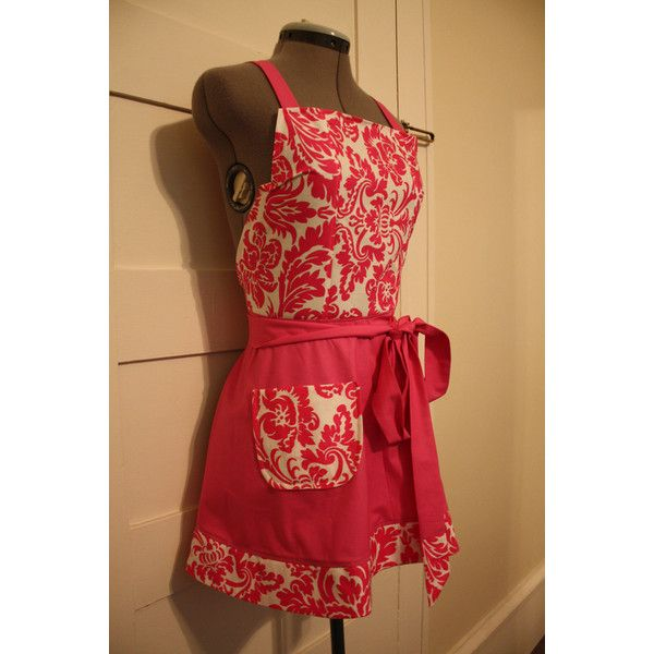 Pink Apron, Full Apron, Traditional Apron, Florish Apron, Women's... ($32) ❤ liked on Polyvore featuring home, kitchen & dining, aprons, pink apron and pattern apron