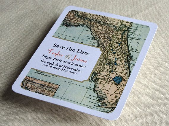 Set the stage for timeless and unique stationery that matches your Florida wedding by announcing your wedding date with a vintage map design.