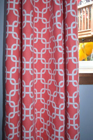 Love these patterned curtains in coral