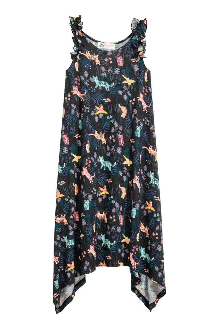 Tricot jurk met print - Zwart - KINDEREN | H&M NL 1