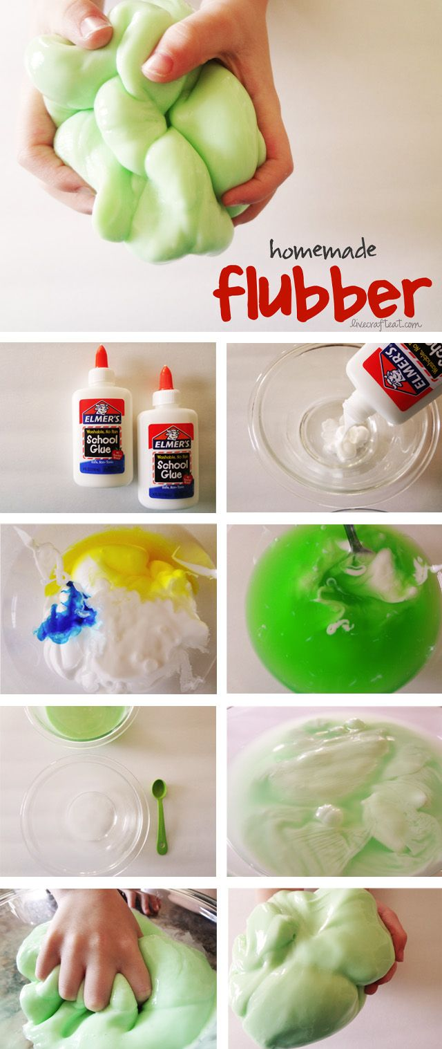 Homemade Flubber - 3/4 cup cold water, 1 cup Elmer's glue, liquid food coloring, 1/2 cup hot water, 1 teaspoon borax. Directions: In bowl 1 – mix together the cold water, glue, and food coloring. Set aside. In bowl 2 – mix together the hot water and borax, until the borax is completely dissolved. Slowly add glue mixture to borax mixture. Mix well. Pour off excess water.