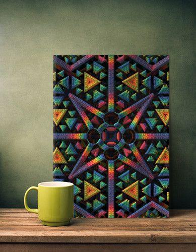 Sacred Metal Poster - 3d fractal symmetry geometric mandelbulb3d colorful vivid sacred Abstract
