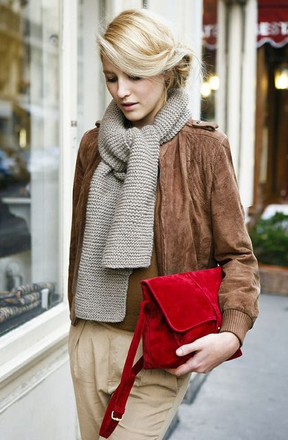 cosy scarf and a bright red bag to warm up this fall
